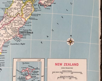 Vintage New Zealand Map 1940's  Retro Find An Colliers Atlas