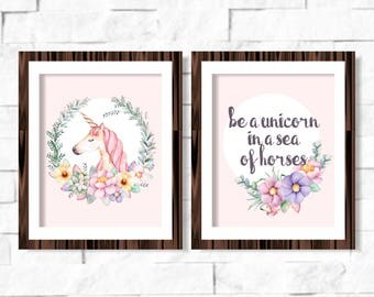 Be a Unicorn in a Sea of Horses Nursery Printable Wall Art 8x10 Instant Download Pastel Print Baby Girl Room Decor Floral Baby Shower Gift