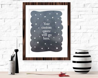Customizable Quote Printable Wall Art - Personalized Birthday Friend Gift Idea Stars Navy Night Sky Living Room Home Decor Custom Text