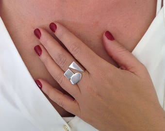 Large Ring, Unique Ring, Gift Ring for Her, Plated Ring, Design Ring, Artisan Ring, Geometric Ring, 925 Ring, Bold Ring, Plated Gold Ring