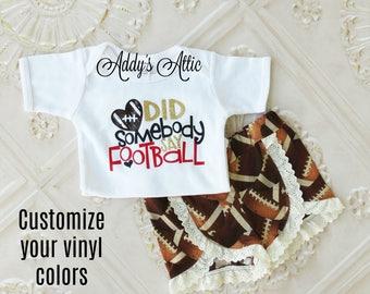 Girls Football Outfit, Did Somebody Say Football, Football Shorts, Glitter Football Shirt, Toddler Girls Football Outfit, Game Day