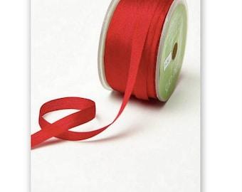 """4 Yards Narrow 1/4"""" wide RED SILK  Ribbon Trim  cheswickcompany"""