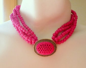 Hot Pink Beaded Necklace, Multi Strand Beaded Jewelry, Vintage Choker Necklace, Great for Summer Accessorizing