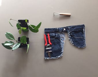 garden apron, belt tool, blue denim apron, gift for him, unisex gift, garden lover, sturdy and simple repurposed garden tool belt, fannypack