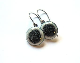 Dainty black and white enamel disc earrings Tiny round drops Itty bitty surgical steel dangles