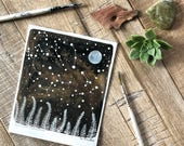 Celestial Watercolor // ferns and constellations, small original painting