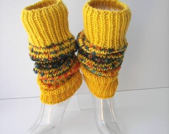 Hand Knit ART Thick Textured Long Leg Warmers in 100% WOOL Mohair Lemon Drops / Wearable Fiber Art / SEAMLESS / Dance / Yoga
