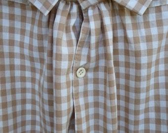 Handmade, tan and cream check 100% cotton man's shirt, size X-Large, 19th century
