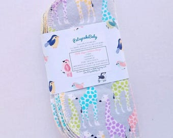 Cotton flannel baby wipes or wash cloths with pastel rainbow giraffes, double layer, set of 6