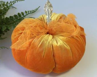 Velvet Pumpkin - Morning Squeeze Orange - with vintage silver stem