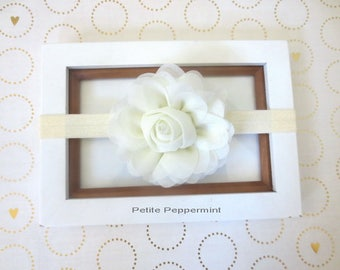 Ivory Baby Headband, Baby Flower Headband, Baby Hair Bow, Infant Headband, Baby Head Band, Baby Hair Bow, Toddler Hair Bow