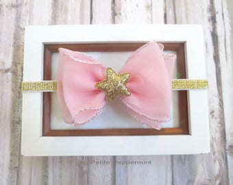 Pink and Gold Baby Headband, Baby Bow headband, Big Bow Baby head band, Gold newborn headband, girl hair bow, toddler headband, baby bow