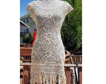 Crochet fringe dress .Made to order in any size and color 2 weeks processing time,