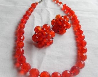 West Germany made red faceted glass bead parure set