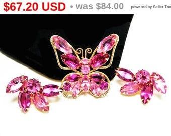 Pink Rhinestone Butterfly Brooch Earrings Set - Juliana StyleDemi Parure -  Butterfly Pin & Clip ons - Vintage Flying Insects