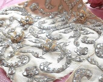 Vintage Beaded Satin Dress Remnant Lot