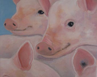 "Pigs Oil Painting Piglets Together Art Whimsical Pigs Napping 8"" X 8"" Canvas Original Pig Art Farm Animal Art Cute Piglets art Karen Snider"