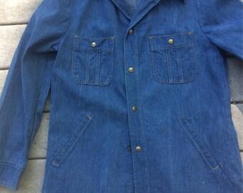 70's Vintage Jean Jacket Lee Jean Jacket  L Tapered Back Heavy Duty Snap Closures Work Wear Boho Hippie