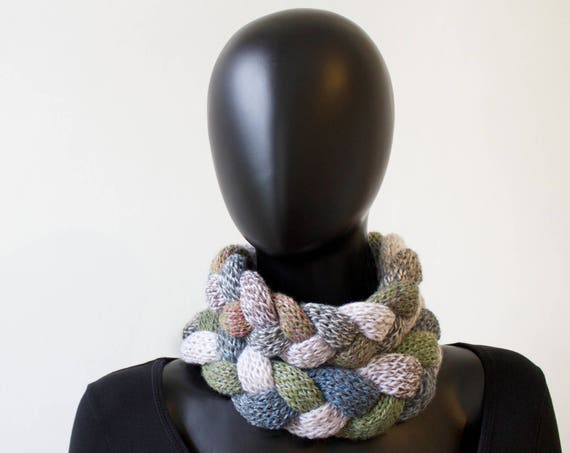 Pebble Braided Cowl Scarf - Chunky Infinity Scarf in Neutral Tones - Warm Winter Cowl - cream scarf in neutral stone colours - gifts for mum