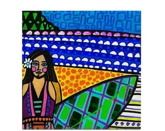 Surfer Girl Art Ceramic Coaster Tile  Hawaii Surfing North Shore Waikiki Beach Surfboard Art ocean by Heather Galler Artist