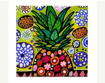 Hawaiian Pineapple Art Ceramic Coaster Tile  Hawaii Fruit Tropical Kitchen Decor Food Heather Galler Artist