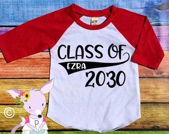 CLASS OF 2030 SHIRT any year custom name kids back to school shirt preschool kindergarten 1st grade pre-k shirt back to school shirts name