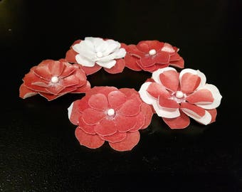 Red and White Edible wafer paper Flowers