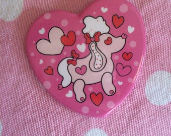 Heart Shaped Poodle Button