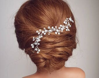 Beaded Hair Vine, Babys Breath Vine, Babies Breath Hair Piece, Flower Hair Vine, Vine Headpiece, Crystal Hair Vine, White Flower Hair Vine