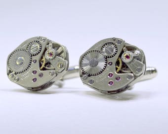 Stunning oval watch movement cufflinks ideal gift for christmas 63
