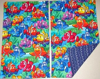 Flannel Burp Cloth Set, Burp Cloths, Set of Two Burp Cloths, Burp Cloths with Fish, New Baby Gift, Baby Shower Gift