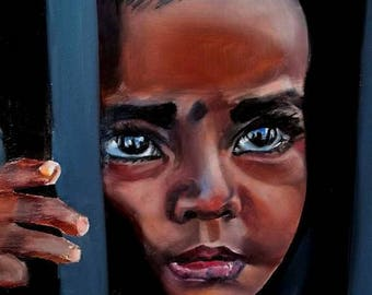 African Child Art Original Oil Painting Portrait Fine Art Painting Expressive Collectible