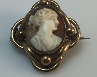 Antique 1800s delicately carved Victorian shell cameo brooch or pin set in yellow metal mount - tune hinge and c clasp