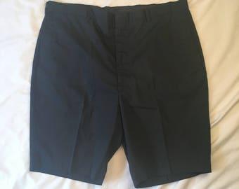 60s 70s vintage Solid Black Bermuda Shorts Mens Flat Front High Waisted Amcrest Koratron 38 waist