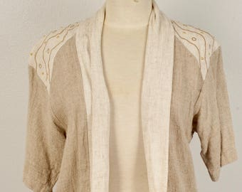 Loose Fitting Open Weave Linen Jacket with Shawl Collar One Size