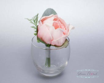 Pink Peony Boutonniere . Real Touch Wedding Bridal Silk Flowers. groom, groomsmen, prom pin on flower, button hole, blush, Peony Collection