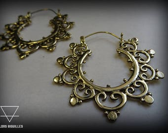 Boucles ethniques #  Boucles d'oreille laiton # brass earrings #  tribal hoop  # brass hoop