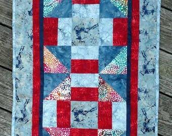 Winter Deer Batik Quilted Table Runner Blue Red