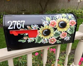 Hand painted mailbox, sunflower mailbox, colorful flower mailbox, yellow flowers, mellow flowers mailbox, black flower mailbox, daisies,