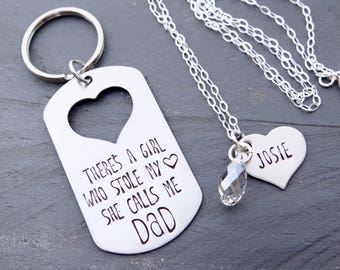 Father's Day Keychain Matching Father Daughter Set. There Is This Girl, She Calls Me Dad.  Keychain & Necklace. Gift for Dad from Daughter