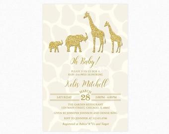 Safari Baby Shower Invitation, Gold and Cream Safari Baby Shower Invitation, Gender Neutral, Printed or Printable
