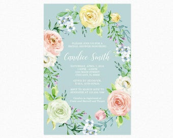 Floral Bridal Shower Invitation, Watercolor Roses, Botanical, Garden, Spring Flowers, Printable and Printed