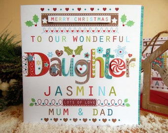 Personalised Daughter Christmas card Special Daughter CHRISTMAS card persoanlization