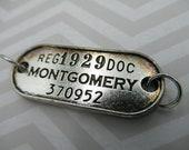 Rétro en métal numéro Tag - Bracelet connecteur w texte - mot pendentif ou breloque - Antique Silver - Bracelet lien focale - Qté 1 * article neuf *