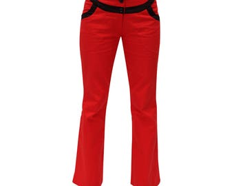 Pant Janis, red and black gabardine