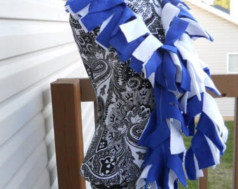 Handmade Solid White and Blue Fleece Boa Scarf