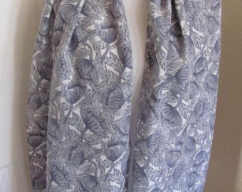 "Scarf Beautiful Off White Gray Floral Soft Silk Scarf - 16"" x 60"" Long - Best of the Best"