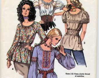 Vintage Set of Gypsy Style Blouses Sewing Pattern - Simplicity 9313 - Size 12 - Bust 34 - UNCUT