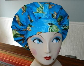 Surfing Turtles  Banded Bouffant Surgical Cap Bakers Cap/Chef Cap