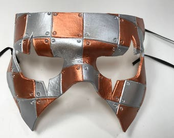 Handmade Genuine Leather Mask in Silver and Copper for Masquerades Halloween or Cosplay Costume - Riveted